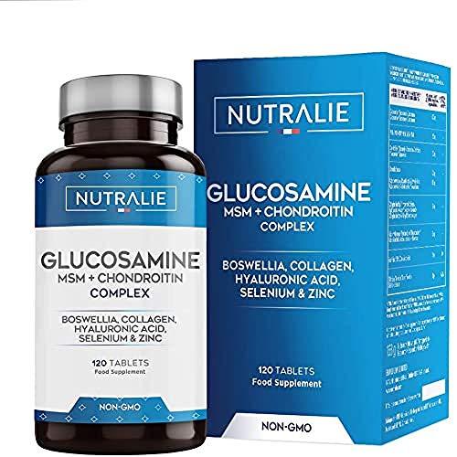 Glucosamine, Chondroïtine, MSM et Collagène   Maintenir des Os Normaux avec la Glucosamine, Chondroitin, le MSM, Collagène, Acide Hyaluronique, Boswellia, Sélénium, Zinc   120 Comprimés Nutralie