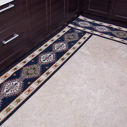 OPLJ Pastoral alfombra de suelo de cocina alargada antideslizante pasillo dormitorio jacquard alfombra europea alfombra de puerta de suelo A2 40x120cm