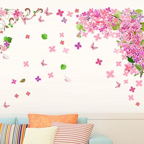 Bodhi2000 - Adhesivo decorativo para pared, diseño de mariposa, diseño de flores y mariposas