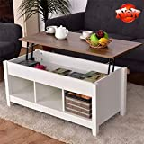 TenouvosStronger & More Durable Lift Top Coffee Table, Thicken Wooden Lift Tabletop Dining Table with Hidden Storage Cabinet & 3 Storage Cabinets, Modern Style End Table for Living Room (White)