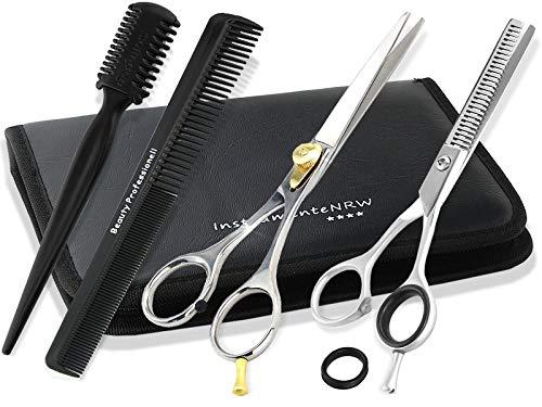Premium Haarscheren-Set 5 tlg Effilierer Solingen mit Effilierschere 1-Seitig Friseurschere 15,24 cm elegante Aufbewahrungstasche