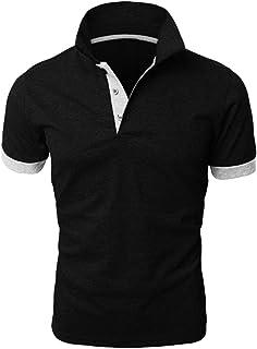 POQOQ Polo Men Fashion Patchwork Shirt Double Color T-Shirts Top Blouses