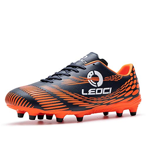 LEOCI Men's Women's Firm Ground Soccer Cleats Outdoor/Indoor Boys Girls Professional Futsal Football Training Sneakers