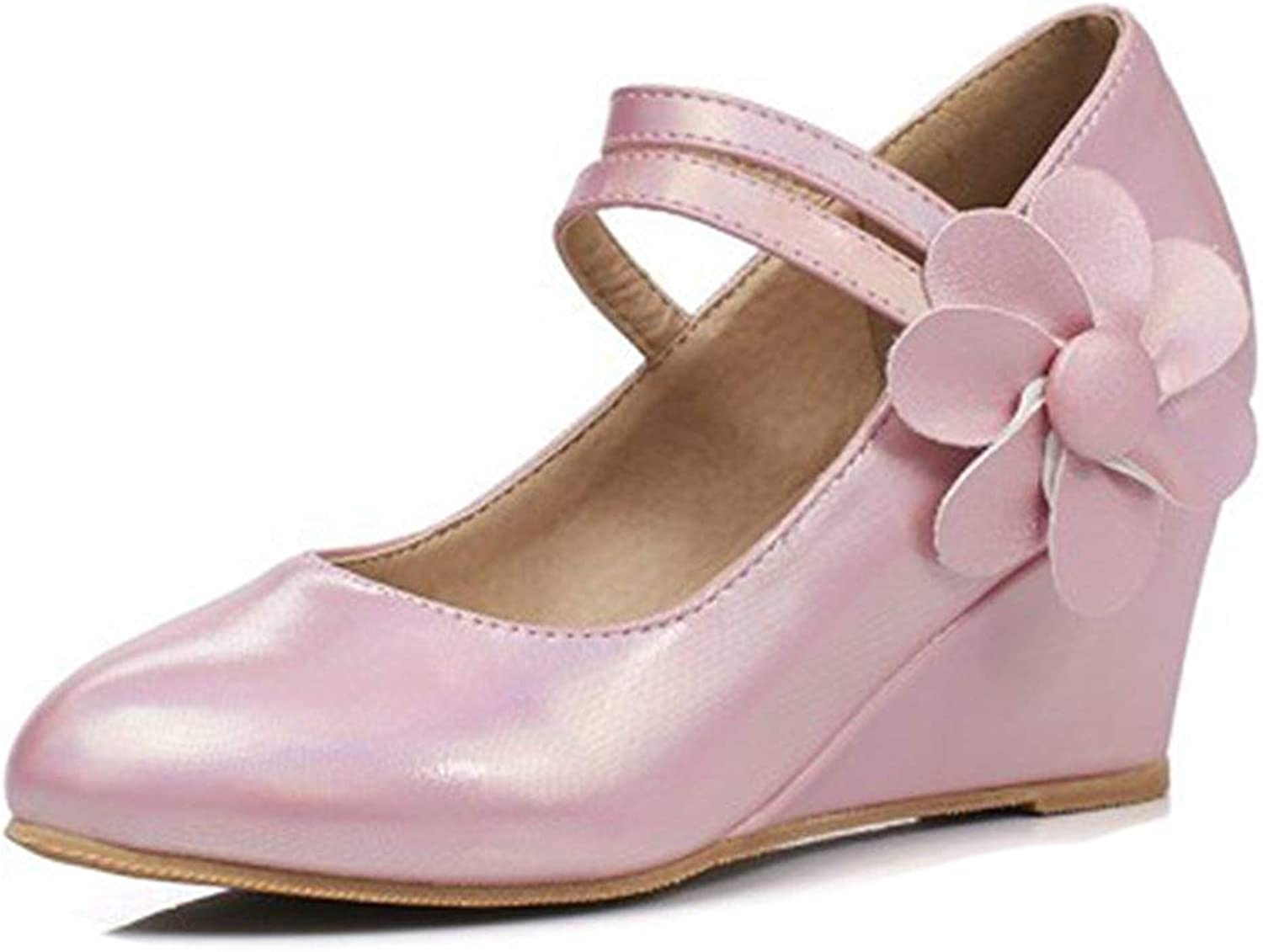Unm Women's Flower Hook and Loop Dressy Low Cut Pointed Toe Medium Heel Wedge Pumps shoes with Ankle Strap