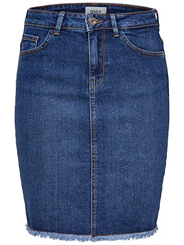 Only Onleliza Reg Rawedgeskirt 08 Noos Falda, Azul (Medium Blue Denim Medium Blue Denim), 40 (Talla del Fabricante: 38) para Mujer