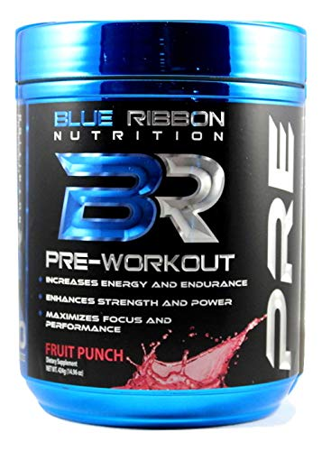 PRE, Highest Quality Pre Workout Powder Supplement (40 Servings). Increases Energy, Strength, Endurance, Focus, Nitric Oxide. 200mg Caffeine and Nootropics (Good for Men & Women) - Blue Razz
