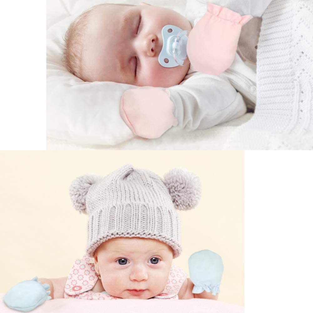 Baby No Scratch Mittens Gloves White Cotton Gloves For 0-6/6-12 Months New Born Girl/Boy