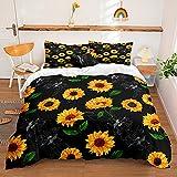 Sunflowers Bedding Black Yellow Flowers Duvet Cover Set Yellow Retro Sunflowers Printed Design Black Sunflowers Bedding Sets King 1 Duvet Cover 2 Pillowcases (King, Black)