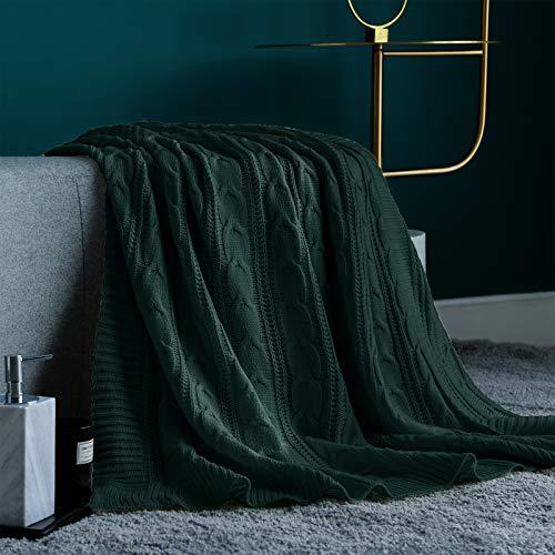 Jinchan Überwurf, Decke, grün, leicht, Zopfmuster, für Innen- und Außenbereich, für Sofa, Schmusetuch, Bett, Liegestuhl, Wohnzimmer, Schlafzimmer, 127 x 152,4 cm