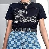 hjkg Camiseta T-Shirt,Harajuku Ocean Waves Pattern Rock Camiseta De Mujer Algodón Cómodo Transpirable Moda Casual Cool Verano Cuello Redondo Manga Corta Negro Camisetas Chica Femenina, M