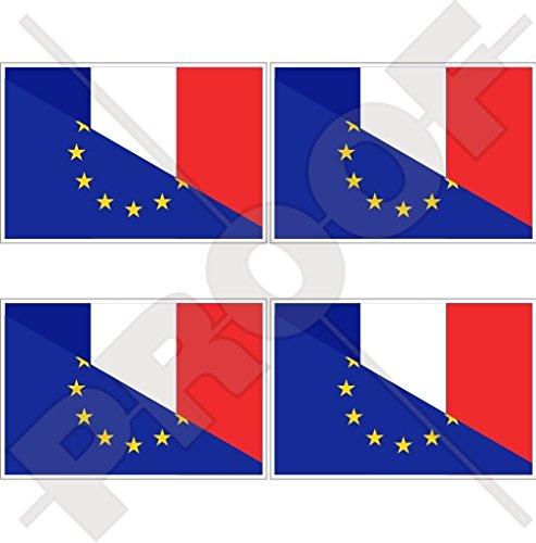 europe-france Drapeau, eu-fr européenne union-french 5,1 cm (50 mm) bumper-helmet en vinyle autocollants, Stickers x4