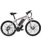 Bicicleta eléctrica de 1000 W, 26-Zoll e-MTB con batería extraíble de 48 V y 13 Ah, Caja de Cambios Shimano de 21 velocidades, Velocidad máxima: 45 km/h, 3 Modos de conducción (White Red, 1000W)