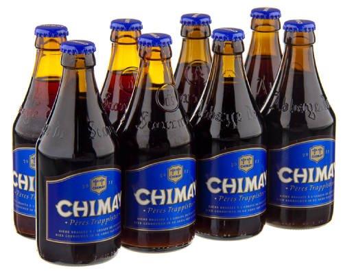 Original belgisches Bier- CHIMAY Trappist (blau) 8 x 33 cl. 9% vol. Trappisten Bier limitiert. Karneval und Party!!