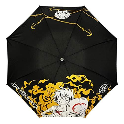 SGOT Anime Regenschirm für Erwachsene, Klappbarer Taschenschirme, dreifach Gefalteter Regenschirm Mehrfarbig(One Piece)