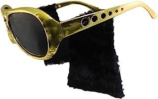 Gold Frame Classic Elvis Costume Sunglasses w/Sideburns