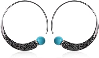 New Turquoise Charm Bohemian Dangle Hoop Earrings Ear Stud Jewelry
