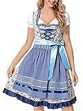 Women's German Beer Dirndl Maid Dress Oktoberfest Costumes Carnival Bavarian Fancy Dress for Ladies (Double Blue/S)