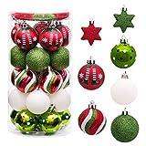 Navidad Bolas de Plastico,Verde Bolas de Navidad,Adornos de Navidad ,Bolas de Navidad Set,Bolas de Navidad Inastillable,Bolas Navideños Inastillable Plástico,Bolas de Navidad (Rojo blanco verde)