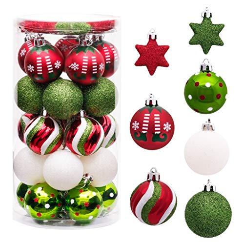 Sunshine smile 35 Stück Weihnachtskugeln,christbaumkugeln Set weihnachtlichen, weihnachtskugeln weihnachtsdeko,weihnachtskugeln baumschmuck,Weihnachtsbaumschmuck,Weihnachten Deko(Rot grün weiß)