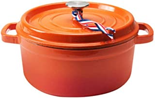 Cast Iron Cookware, Dutch Oven, Casserole With Lid, Non-Stick Enamel Coating-Orange_capacity 3.8L