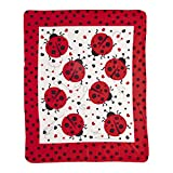 Weber's Wonders Ladybug Fleece Throw Blanket - Lightweight Super Soft Cozy Luxury Duvet Cover for Children - Microfiber Plush for Girls - Decorative Sofa Couch and Floor Warm Bed Cover - 50' x 60'