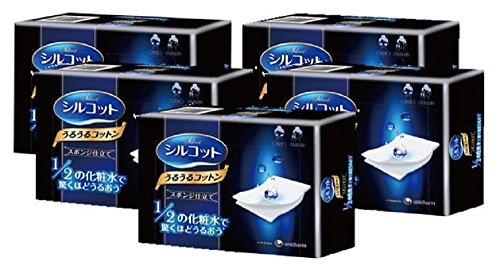 Unicharm Silcot Uruuru Sponge Facial Cotton 40 Sheets 5 Packs