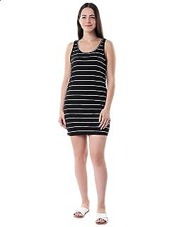 Kady Striped Sleeveless Round Neck Cotton Beach Dress for WoMen
