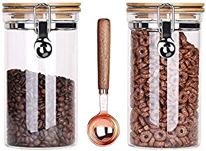 Kebert Clear Glass Storage Containers with Airtight Locking Clamp Bamboo Lids, Glass Food Storage Jars for Kitchen Coffee Bean Nuts Sugar Candy, Glass Sealed Containers with Spoon,40oz X 2 Pieces