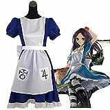 Cosplay Disfraces Halloween, Gótica Victoriana Disney Alice Maid Azul Vestido Lolita Fairytale Dress Restaurant Servant Outfit, Mujer Navidad Cumpleaños,A,XL