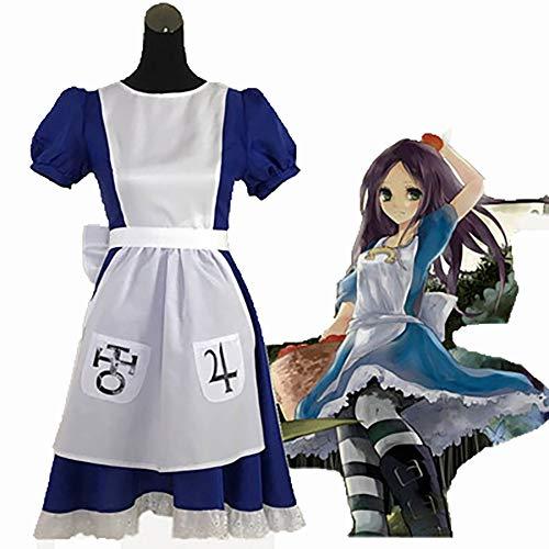 Alice in Wonderland Madness Return, Erwachsene Cosplay Kostüm Blau Vintage Lolita Anime Kleid Bow Gürtel, Karneval Fasching Halloween Spezielle Anlässe,A,XL