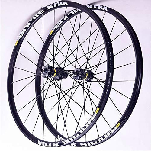 ZNND 26'' 27.5'' 29'' Ruedas Bici Montaña Fibra Carbon Juego Ruedas Bicicleta QR Frente 2 Trasero 4 Peilin Llanta Aleación Doble Pared 8-9-10-11 Velocidad (Color : Black hub, Size : 29inch)
