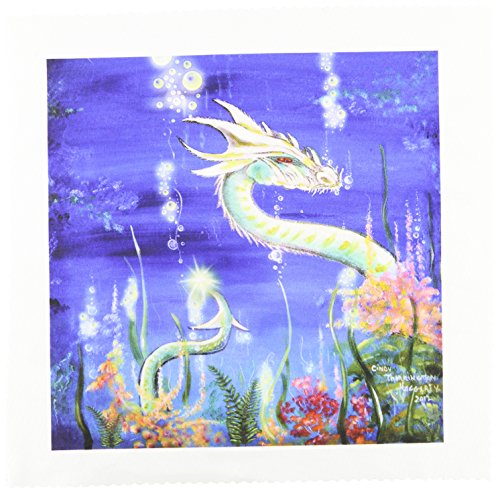 3dRose LLC qs_41483_4 Quilt Square, 12 by 12-Inch, Dragon Lore White Water Dragon