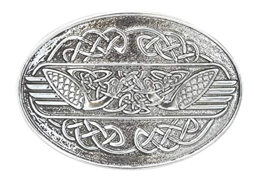 Lee River Goods Co - Men's Snap-On Oval Belt Buckle, Celtic Swans, One Size