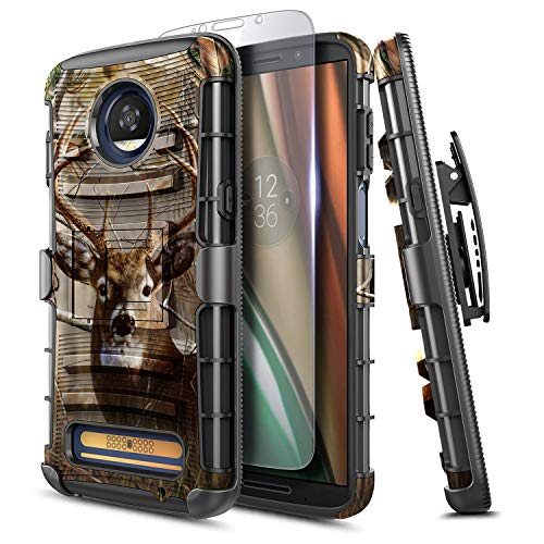 NZND Case for Moto Z Play (2016), Motorola Moto Z Play Droid with Tempered Glass Screen Protector, Belt Clip Holster Built-in Kickstand, Heavy Duty Protective Shockproof Defender Combo Case -Deer