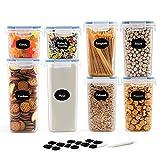 JUCJET Recipientes para Cereales Almacenamiento de Alimentos, Jarras de Almacenamiento de Plástico con Tapa Hermética Sin BPA,Juego de 8 + 12 Etiquetas, para Cereales, Pasta, Harina (Azul)