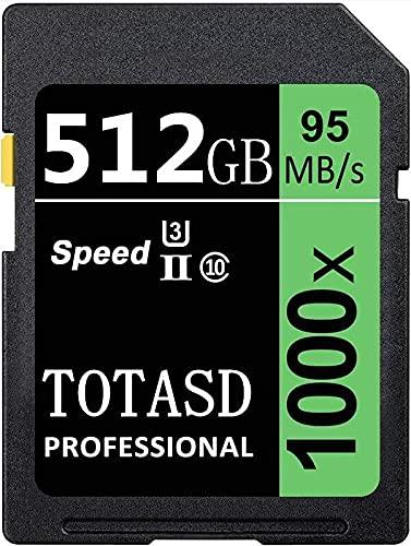 Tarjeta de memoria SDXC grande de 512 GB SDXC UHS-II SD, memoria de datos, U3 velocidad de hasta 95 MB/s para cámara réflex digital, cámara HD o cámara 3D (512 GB)