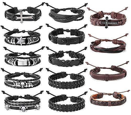 Finrezio 14 Piezas Pulsera Trenzada De Cuero Trenzado para Hombres, Mujeres Punk Wrap Cuff Bracelet Bracelet Cross Ajustable Negro Marrón