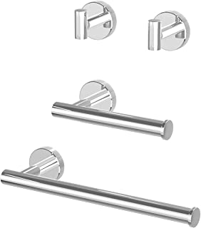 Ralbay Silver Bathroom Hardware Set, Premium SUS304 Stainless Steel 4 Pieces Bathroom Hardware Accessories Set Wall Mount...