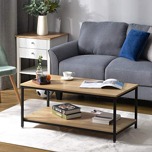 Baywell 2-Tier Coffee Table, Simple Style Coffee table Rectangular Living Room Table with Metal Sturdy Frame with Large Storage Shelf