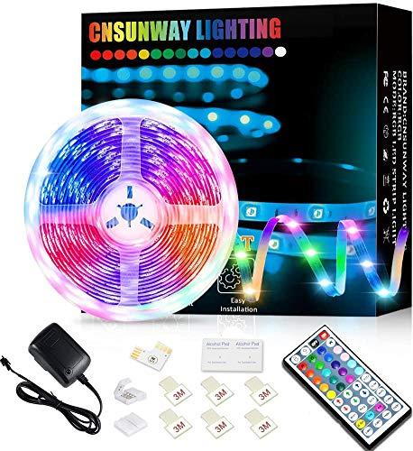 CNSUNWAY LIGHTING LED Strip 5M, RGB LED Streifen mit 44 Tasten IR Fernbedienung, 5050 Farbänderung Led Band Lichtband für Zuhause, Schlafzimmer,TV, Patry, Decke, Schrankdeko