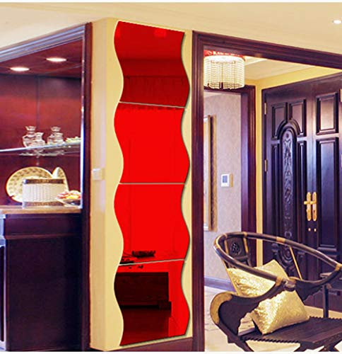 Espejo 3D Etiqueta de la pared Ola Acrílico Decoración Etiqueta de la pared Espejo de pared Maquillaje Baño Sala de estar Mural Decoración del hogar-Red_12pcs12x10cm