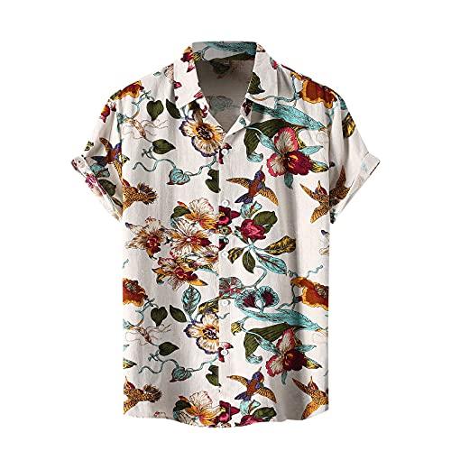 BIBOKAOKE Tshirt Herren Hemden Kurzarm Hawaii Blumenhemd Funky Mehrfarbig Bedrucktes Hemd Urlaub Strandhemd Dünne Casual Sommerhemd Revers Henley Shirt Basic Slim Fit Freizeithemden