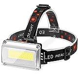Linterna Frontal LED Recargable, Alta Potencia Linterna Cabeza con 4 Modos y 3 Colores, luz para bicicleta conImpermeable IPX4 para Casco, Pesca, Bicicleta, Camping y Caza