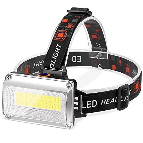 Linterna Frontal LED Recargable, Alta Potencia 12000 Lúmenes, Linterna Cabeza con 4 Modos y 3 Colores, luz para bicicleta conImpermeable IPX4 para Casco, Pesca, Bicicleta, Camping y Caza