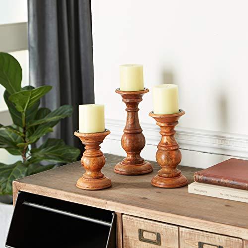 Deco 79 51536 Wood Candle Holder (Set of 3) 10', 8', 6' H