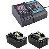 Lot de 2 batteries de rechange Makita 18 V 5 Ah BL1850 BL1840 BL1830 BL1815 194204-5 avec interface USB 3 A - Remplace le chargeur rapide Makita DC18RC DC18RA DC18RD