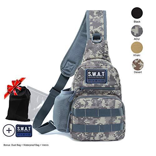 LHI Tactical Sling Brusttasche, Molle-Tagesrucksack, kleine Militär-Schultertasche für Jagd, Camping, Radfahren, ACU, Middle