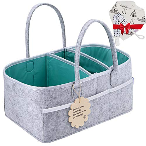 Baby Diaper Caddy Organizer - Shower Registry Gift Basket with Pacifier Clips, Bibs for Newborn - Caddy Nursery with Waterproof Liner Easy to Clean Perfect for Changing Table and Car - Grey Nappy Bag