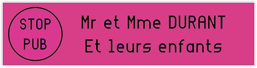 Brievenbusplaatje STOP PUB formaat Decayeux (100 x 25 mm), roze, zwart, 2 regels - kunststof - 0,16