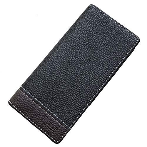R&S WHOLESALER Men's Bifold Leather Breast Pocket Card Holder Purse Suit Long Wallet Checkbook (Black-2)
